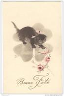CPA Illustrée Chats - Bonne Fête - Circulée - Cats