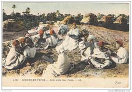 CPA Scènes Et Types - Ecole Arabe Dans L'oasis - Circulée - Afrique