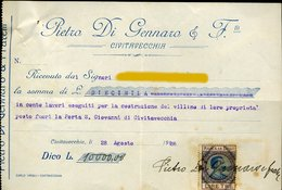 127 CIVITAVECCHIA 1923 , PIETRO DI GENNARO E F.lli , RICEVUTA PER LAVORI , MARCA DA BOLLO L.3 - Italia