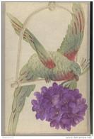 CPA Carte Brodée - Perroquet Offrant Des Fleurs - Fort Relief - Circulée - Oiseaux