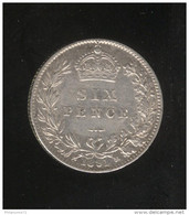 6 Pence Grande Bretagne / United Kingdom 1891 Victoria TTB+ - 1816-1901 : Frappes XIX° S.