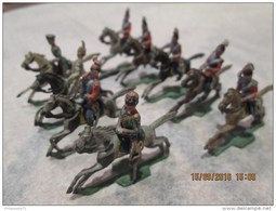 Lot De 9 Figurines 1/72 - Cavaliers Guerre 1870 - Fabricant Probable Heyde - Circa 1930 - Soldats De Plomb