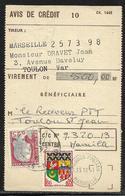 Taxe De Retrait à Vue Des CCP : Avis De Crédit Affr. 0,25 Marianne De Decaris Et 0,05 Oran Obl Tàd Toulon St Jean Du Var - 1921-1960: Periodo Moderno