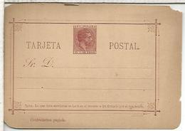 FILIPINAS ENTERO POSTAL ALFONSO XII CONTESTACION PAGADA - 1850-1931