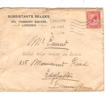 JS624/ Guerre-Oorlog 14-18 Lettre GB Subsistants Belges London/Londres V.Soldat Belge Inapte Au Service à Birmingham - Other Zones
