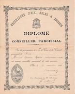 1923 - AIX - DIPLÔME De CONSEILLER PAROISSIAL - Paroisse De SENAS - M. Maurice AGOSTINI, Entrepreneur, Maçon - Historical Documents