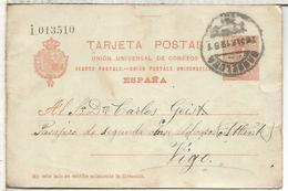 ESPAÑA ENTERO POSTAL ALFONSO XIII BARCELONA A VIGO SERIE I - 1850-1931