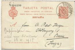 ESPAÑA ENTERO POSTAL ALFONSO XIII BARCELONA A BERNE SUIZA SERIE V - 1850-1931