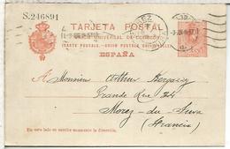 ESPAÑA ENTERO POSTAL ALFONSO XIII MADRID A MOREZ DU JURA  SERIE S - 1850-1931