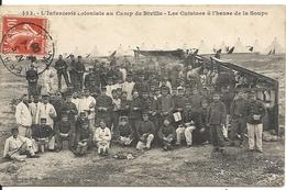 BIVILLE. LE CAMP. INFANTERIE COLONIALE. LES CUISINES A L'HEURE DE LA SOUPE - France