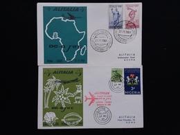 REPUBBLICA - 1° Volo Alitalia Roma-Accra E Ritorno Lagos-Roma - Annulli Arrivo + Spese Postali - 6. 1946-.. Repubblica