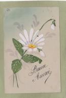 FLEUR  Bonne Année  Matière Celluloïd Peinte - Fleurs