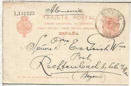 ESPAÑA ENTERO POSTAL ALFONSO XIII BARCELONA A RECHTENBACH SERIE L - 1850-1931