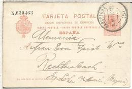 ESPAÑA ENTERO POSTAL ALFONSO XIII BARCELONA A RECHTENBACH SERIE K - 1850-1931