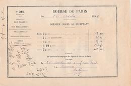 1886 - BOURSE DE PARIS - Dernier Cours Au Comptant - Ministère Des Postes Et Des Télégraphes - USSON-en-FOREZ (42) - Historische Documenten