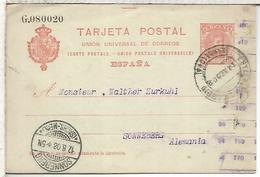 ESPAÑA ENTERO POSTAL ALFONSO XIII BARCELONA A SONNEBERG ALEMANIA 1908 - 1850-1931