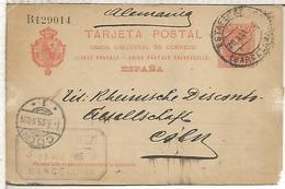 ESPAÑA ENTERO POSTAL ALFONSO XIII BARCELONA A KOLN ALEMANIA 1905 - 1850-1931
