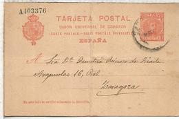 ESPAÑA ENTERO POSTAL ALFONSO XIII BARCELONA A ZARAGOZA 1904 - 1850-1931