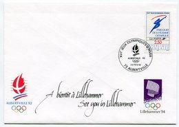 """RC 10486 FRANCE FDC JEUX OLYMPIQUES D' ALBERTVILLE 92 CLOTURE DES JEUX """" A BIENTOT A LILLEHAMMER - TB - Winter 1992: Albertville"""