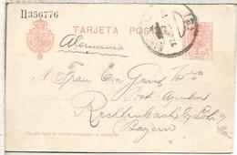 ESPAÑA ENTERO POSTAL ALFONSO XIII BARCELONA A RECHTENBACH SERIE Ll - 1850-1931