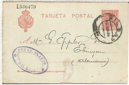ESPAÑA ENTERO POSTAL ALFONSO XIII BILBAO A EBINGEN 1909 - 1850-1931