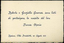 111 RICCIONE , VILLA PERSICHETTI , 1939 BIGLIETTO DI NASCITA - Nascita & Battesimo