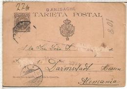 ESPAÑA ENTERO POSTAL ALFONSO XIII MAT AMBULANTE A DARMSTADT 1901 VARIANTE J ROTA Y SIN NUMERACION - 1850-1931