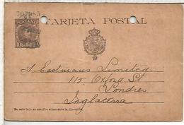 ESPAÑA ENTERO POSTAL ALFONSO XIII ALGECIRAS A LONDRES AGUJEROS ARCHIVO NUMERACION 6 CIFRAS - 1850-1931