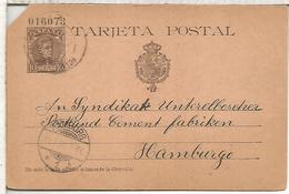 ESPAÑA ENTERO POSTAL ALFONSO XIII CADIZ A HAMBURG  NUMERACION 6 CIFRAS - 1850-1931