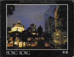 HONG KONG - NOTTURNO - FORMATO GRANDE 18X14 - VIAGGIATA 1990 - Cina (Hong Kong)
