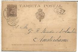 ESPAÑA  ENTERO POSTAL ALFONSO XIII CADIZ A AMSTERDAM 1891 - 1850-1931