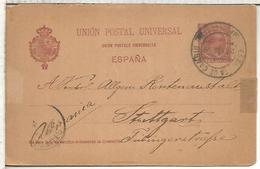 ESPAÑA  ENTERO POSTAL ALFONSO XIII BARCELONA A STUTTGART 1899 VARIANTE UNION EN FRANCES CON ACENTO - 1850-1931