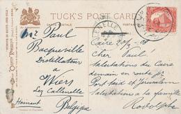 224/27 - EGYPTE Carte-Vue TP DLR SEMIRAMIS Hotel CAIRO 1908 + Lettre UK Vers SEMIRAMIS Hotel CAIRO 1908 - Égypte