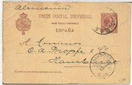 ESPAÑA  ENTERO POSTAL ALFONSO XIII MADRID A HAMBURG 1895 - 1850-1931