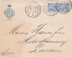 226/27 - EGYPTE Lettre Illustrée TP DLR - CAIRO P.O GHESIREH PALACE 1897 Vers La Suisse - Égypte
