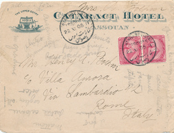 227/27 - EGYPTE Lettre Illustrée TP DLR - CATARACT Hotel ASSOUAN 1905 Vers ROME Italie - Égypte