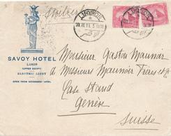 228/27 - EGYPTE - SUPERBE Lettre Illustrée TP DLR LUQSOR - SAVOY Hotel LUXOR 1911 Vers GENEVE Suisse - Égypte