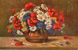 CP Fantasie - Carte En Bois - Peinture De Fleur - In Hout - Bloemstuk - Cartes Postales