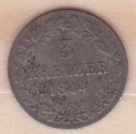 Royaume De Wurtemberg 3 Kreuzer 1844 - Wilhelm I , KM# 591 - Small Coins & Other Subdivisions