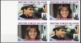 British Virgin Islands 1986 Sc. 539-540 Wedding Prince Andrew And Sarah Ferguson Sheet Imperf. Nuovo - British Virgin Islands