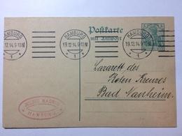 GERMANY -  1914 Postcard Complete With Reply Card Hamburg (Julius Magnus) To Bad Nauheim - Germany