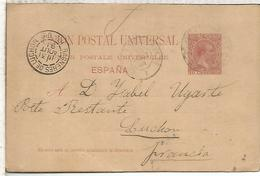 ESPAÑA  ENTERO POSTAL ALFONSO XIII BARCELONA A LUCHON 1891 VARIANTE DIRECCION SIN ACENTO NI PUNTO FINAL - 1850-1931