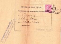 Semeuse 224 Sur Avis Ets Flammand à Chalon-sur-Saône (1927) Avec Récépissé Collé Au Verso - 1903-60 Semeuse Lignée