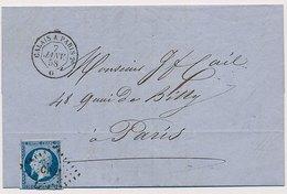 Lettre N°14 Ambulant CaD Octogonal Calais A Paris 2° - 1849-1876: Période Classique