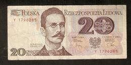 T.  Poland Narodowy Bank Polski 20 Zlotych 1982 Y 1796285 Romuald Traugutt - Poland