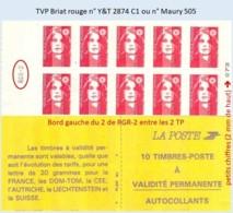 FRANCE - Carnet Avec RGR-2 - TVP Briat Rouge - YT 2874 C1 / Maury 505 - Carnets