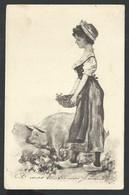 +++ CPA - Carte Fantaisie - Femme - Lady - Cochon - Pig   // - Cochons
