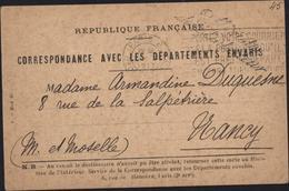 Guerre 14 Carte Correspondance Avec Les Départements Envahis Franchise Ministère De L'intérieur Arleux Nord Pour Nancy - Storia Postale