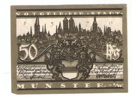 T.  Germany Notgeld Der Stadt MUNSTER 50 Pfennig 1921 - Blick Auf Lamberti - [11] Local Banknote Issues