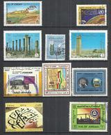 TEN AT A TIME - JORDAN - LOT OF 10 DIFFERENT COMMEMORATIVE 3 - USED OBLITERE GESTEMPELT USADO - Jordanie
